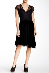 Biya Lace And Velvet Dress Black
