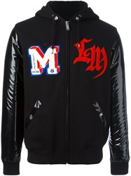 Love Moschino Patch Detailing Hooded Bomber Jacket Black
