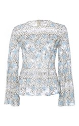 Katie Ermilio Pleated Bell Sleeve Lace Blouse Blue