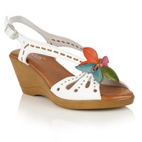 Lotus Trevi Wedge Sandals White