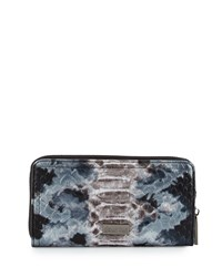 Deux Lux Snake Embossed Faux Leather Wallet Silver