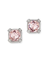 Judith Ripka Cushion Stud Earrings With White Sapphire And Pink Crystal Pink Silver