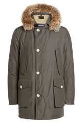 Woolrich Arctic Down Parka With Fur Trimmed Hood Grey