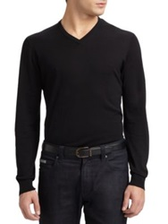 Armani Collezioni Silk Cotton V Neck Shirt Navy Black