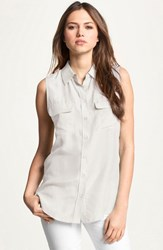 Women's Equipment 'Slim Signature' Sleeveless Silk Shirt Bright White