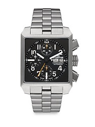 Fortis Square Stainless Steel Chronograph Dial Watch Black