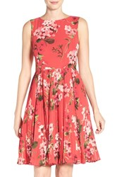 Adrianna Papell Women's Floral Pleated Fit And Flare Dress