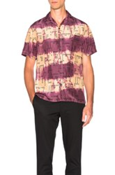 Lanvin Open Collar Bowling Shirt In Ombre And Tie Dye Purple Floral Ombre And Tie Dye Purple Floral