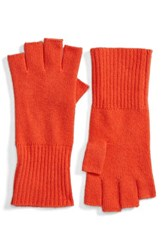 Halogenr Women's Halogen Cashmere Fingerless Gloves Red Fiery