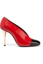 Lanvin Two Tone Leather Pumps Red Black