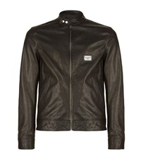 Dolce And Gabbana Leather Zip Jacket Male Black