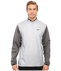 Nike 1 2 Zip Shield Top Wolf Grey Charcoal Heather Wolf Grey Reflective Silver Men's Coat White