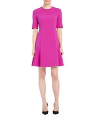 Ellen Tracy Solid Seamed Flounce Dress Rosette