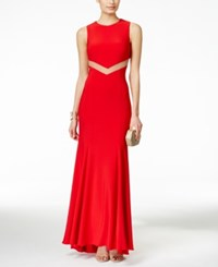 Betsy And Adam Mesh Cutout Back Sleeveless Gown Red