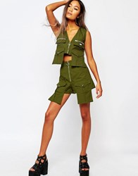 Shade London High Rise Military Shorts Olive Green