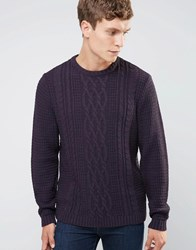 Asos Cable Jumper In Soft Yarn Dark Plum Purple