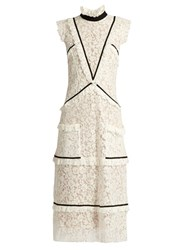 Erdem Abigail Contrast Trimmed Lace Midi Dress White