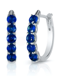 Effy Royale Bleu 14K White Gold And Sapphire Hoop Earrings