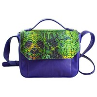 Marie Odile For Soltek Esquirol Crossbody Bag Royal Blue Leather And Printed Python Leather
