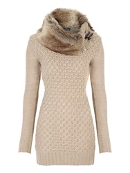 Jane Norman Faux Fur Collar Jumper Stone