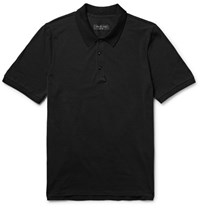 Rag And Bone Farris Pia Cotton Pique Polo Shirt Black