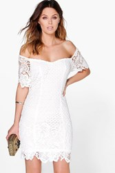 Boohoo Daisy Floral Crochet Off Shoulder Dress White