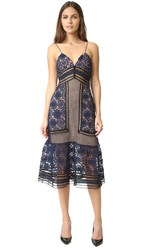 Self Portrait Strappy Lace Dress Navy Black Nude