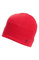 Polo Ralph Lauren Men's Thermal Cuff Cotton Cap Red Rl 2000 Red