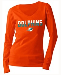 5Th And Ocean Women's Miami Dolphins Huddle Le Long Sleeve T Shirt Orange