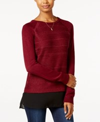Amy Byer Bcx Juniors' High Low Layered Look Sweater Bordeaux