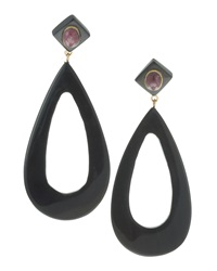 Ashley Pittman Horn And Ruby Hoop Earrings