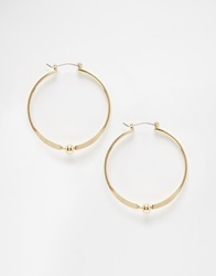 Warehouse Bead Section Hoop Earrings Gold