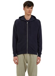 Les Basics Reverse Side Loopback Fleeced Zip Up Hooded Sweater Navy