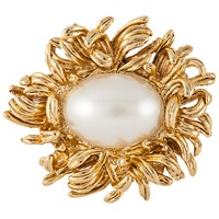 Susan Caplan Vintage 1960S Gold Plated Faux Pearl Flower Brooch Gold