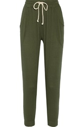 Lna Gyspy Textured Jersey Sweatpants Green