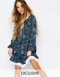 Reclaimed Vintage Long Sleeve Tunic Dress With Tie Back Detail In Paisley Floral Blue