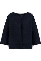 Goat Walker Knitted Cotton Cardigan Blue