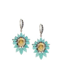 Stephen Dweck Fan Yellow Quartz And Turquoise Drop Earrings Women's