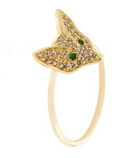 Sydney Evan Yellow Gold And Diamond Fox Head Ring Female
