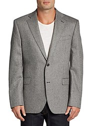 Saks Fifth Avenue Black Slim Fit Melange Cashmere Two Button Sportcoat Black White