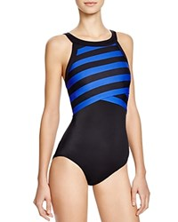 Dkny Iconic Stripes High Neck Maillot One Piece Swimsuit Electric