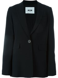 Msgm Single Breasted Blazer Jacket Black