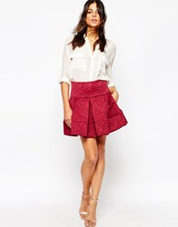 Helene Berman Full Mini Skirt In Embosssed Red Floral Red