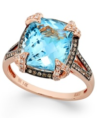 Effy Collection Bleu Rose By Effy Blue Topaz 6 3 8 Ct. T.W. And Brown Diamond 1 3 Ct. T.W. Cushion Cut Ring In 14K Rose Gold