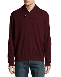 Neiman Marcus Cashmere Shawl Collar Pullover Sweater Burgundy