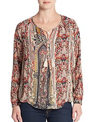 Collective Concepts Paisley Print Peasant Top Multi