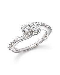 Bloomingdale's Diamond Two Stone Ring With Pave Band In 14K White Gold .75 Ct. T.W.