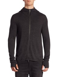 Diesel Black Gold Micro Rib Merino Wool Blend Hooded Cardigan Dark Grey