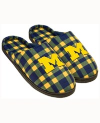 Forever Collectibles Michigan Wolverines Flannel Slide Slippers Navy