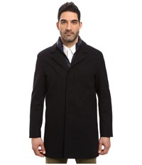 Cole Haan Waterproof Wool Topper With Quilted Bib Navy Ink Men's Coat